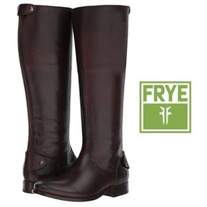 The Frye® Melissa Button Back Riding Boot in Brown